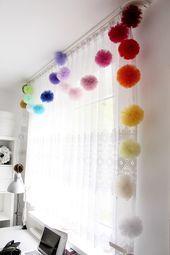 Tulle Garland - Tulle Pom Pom Balls - Tulle Pompom Puffs - Kids Garland - Make Y. - Tulle Garland – Tulle Pom Pom Balls – Tulle Pompom Puffs – Kids Garland – Make Your Own Gar - Tulle Garland, Tulle Poms, Pom Pom Garland, Floral Garland, Tulle Tutu, Pom Poms, Rainbow Bedroom, Rainbow Nursery Decor, Garland Nursery