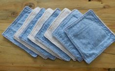 set of 8 baby boy washcloths or wipes, terry cloth and reclaimed fabric, 2 ply, 7x7. $10.00, via Etsy.