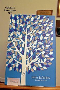 Wishwik Multi Wedding Tree Canvas | Guest Book Alternative | Signed Peachwik Tree | Modern Wedding | Customer Photo | Wedding Colors - Blue & Gray | peachwik.com