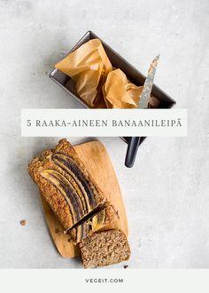 Viiden raaka-aineen banaanileipä - Vege it! Yams, Overnight Oats, Smell Good, Raw Vegan, Healthy Snacks, Smoothies, Goodies, Yummy Food, Baking