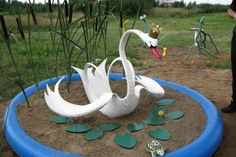 swan planter made from a tyre