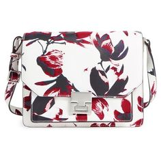 Ivanka Trump 'Hopewell' Print Leather Shoulder Bag (53.770 HUF) ❤ liked on Polyvore featuring bags, handbags, shoulder bags, painted petal, white shoulder bag, evening purse, evening handbags, genuine leather purse and ivanka trump handbags