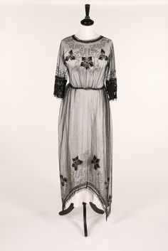 Embroidered tulle dress c. 1918