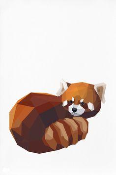 Geometric Illustration Red Panda Animal print by TinyKiwiCreations