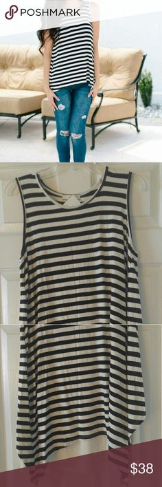 Ivory and Black Drape Back Tank NWT. Smoke free home. Super cute! Tops Tank Tops