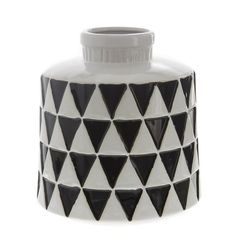 B&W Diamond Ceramic Vase 20cm