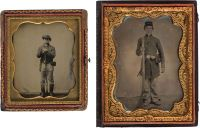 Fine hand-tinted quarter plate tintype of standing soldier holding musket, with cap pouch, cartridge box and oval US belt buckle, housed in an embossed leather case. Sold together with a sixth plate tintype of a standing cavalryman, wearing an unusual hat, boots, knife, cap pouch, cartridge box, holding a musket, housed in half of a leather case.