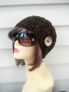 Womens Hat with Large Coconut Button Brown by knottycreationsbyET, $28.00