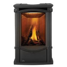 Napoleon Castlemore Direct Vent Gas Stove - Majolica Brown - Napoleon Castlemore Gas Stove (cast iron) adds more than just a reliable heating source to a home. With its sleek curves and tall, slender stature, it becomes the ultimate focal poi Fireplace Stores, Stove Fireplace, Direct Vent Gas Stove, Stove Heater, Ceramic Fiber, Cast Iron Stove, Wood Burning Fires, It Cast, Stoves