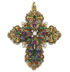 Gem set, enamel and diamond pendant, circa 1890. Designed as a Latin cross, the front and reverse decorated with polychrome enamel, accented with oval rubies, variously shaped emeralds, seed pearls and circular-cut and rose diamonds.  [You know, I have the suspicion that this just may be another example of Renaissance Revival...]
