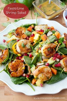 Fiesta Lime Shrimp Salad by Love Bakes Good Cakes Seafood Recipes, Dinner Recipes, Cooking Recipes, Healthy Recipes, Delicious Recipes, Banting Recipes, Cooking Hacks, Healthy Meals, Chicken Recipes