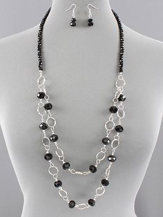 double strand beaded necklace patterns | Jewelry Trinket Designs | Long Black Beaded Layer Link Silver Necklace ...