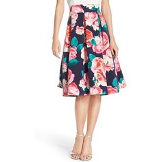 Eliza J Floral Print Faille Skirt ($138) ❤ liked on Polyvore featuring skirts, pink, flared skirt, floral flare skirt, pink pleated skirt, white pleated skirt and eliza j