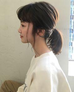 joemi Bangs With Medium Hair, Medium Hair Styles, Short Hair Styles, Side Bun Hairstyles, Girl Hairstyles, Asian Brown Hair, Bangs Updo, Asian Bangs, Korea Makeup
