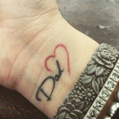 Best father tattoos designs and ideas for men and women who are willing to have some heart touching tattoos to dedicate to your father. Here we have some coolest father tattoos designs and ideas. Daddy Tattoos, Father Tattoos, Family Tattoos, Wrist Tattoos, Body Art Tattoos, Tatoos, Female Hand Tattoos, Forearm Name Tattoos, Parent Tattoos