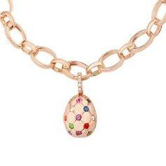 Fabergé Treillage Multi Coloured Rose Gold Polished Egg Charm