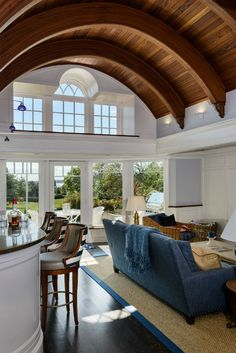 The distinctive mahogany barrel ceiling. Coastal Living, Coastal Decor, Coastal Bedrooms, Barrel Ceiling, Classic Ceiling, Interior Design Advice, Ceiling Detail, Cottage Style Homes, Nautical Home