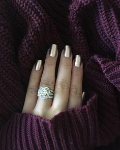 Engagement ring. Wedding ring. Diamond ring. Diamond. Diamonds. Round diamonds. Round diamond. Cushion cut. Cushion cut halo. Double halo. Double halo engagement ring. Wedding bands. Stack rings. Rose Gold nail polish. Essie nail polish. Penny Talk. Essie Penny Talk nail polish. Manicure.