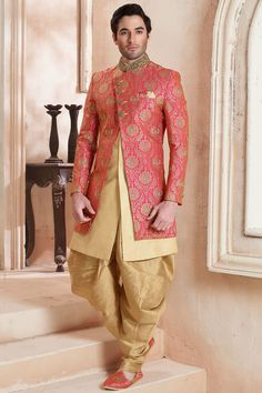 Pink & Gold Silk Zardosi Embroidered Indo Western The Effective Pictures We Offer You About Groom Outfit chinos A quality picture can tell you Sherwani Groom, Wedding Sherwani, Punjabi Wedding, Indian Groom Wear, Indian Wear, Indian Men Fashion, Groom Fashion, Mens Fashion, Wedding Men