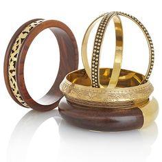 "BAJALIA ""Kala"" Wood and Brass Set of Five Bangles"