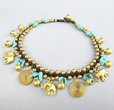 Boho Anklet - Turquoise Stone Brass Bead Ankle Bracelet add Elephant and Swirl Charm