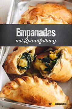 Empanadas with spinach filling - Tapas-Rezepte - Dinner Recipes Stew Meat Recipes, Healthy Crockpot Recipes, Diet Recipes, Vegetarian Recipes, Empanadas Vegetarian, Authentic Mexican Recipes, Mexican Food Recipes, Paleo Food List, Flank Steak Recipes