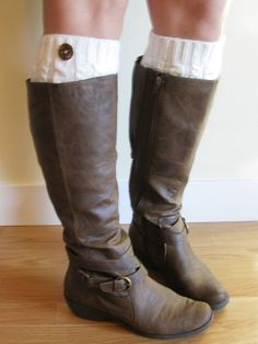 Cream knit boot socks / legwarmers with button by whatcirca, $25.00