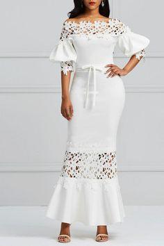 Clocolor Elegant Long Dress Women White Lace Slash Neck Mermaid Dresses Sexy Hollow Lace-Up Bodycon Party Maxi Dresses Vestidos Lace Maxi, Maxi Dress With Sleeves, Dress Skirt, Lace Dress, Bodycon Dress, Elegant Dresses, Sexy Dresses, Dress Outfits, Floral Dresses