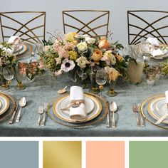 Dusty Blue + Gold + Soft Peach + Moss  Read more: New Wedding Color Combos for 2014 http://wedding.theknot.com/wedding-colors/choosing-wedding-colors/articles/wedding-color-combinations.aspx?page=28#ixzz2qIrXisTz