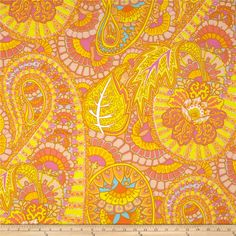 Kaffe Fassett Spring 2013 Collection Belle Epoch Yellow from @fabricdotcom  Designed by Kaffe Fassett for Westminster Fabrics, this cotton print is perfect for quilting and craft projects as well as apparel and home décor accents. Colors include yellow, orange, pink, white and brown.