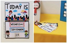 Calendar and Hall passes in the Superhero theme from Speech Room Style Superhero Kindergarten, Superhero Classroom Decorations, Kindergarten Lessons, Classroom Themes, Classroom Labels, Online Classroom, 2nd Grade Classroom, School Classroom, Future Classroom