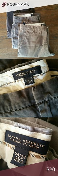 3 Pairs of Banana Republic Men's Chinos 34/32 Three pairs of good quality chinos and khakis with light to medium wear, mostly on cuffs. Two pairs are straight fit and one pair relaxed fit. Size 34/32. My husband is 6-ft and weighs 165 lbs and these fit him perfectly. Banana Republic Pants Chinos & Khakis