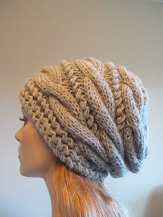 Slouchy Beanie Slouch Hats Oversized Baggy cabled hat  womens accessory Grey Heather Alpaca Hand Made Knit. $44.99, via Etsy.