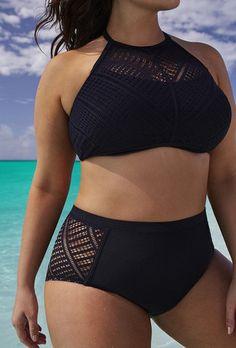 Plus Size Women  High Waist Lace Bikinis Black Solid Swimwear Hollow out Swimsuit Bathing Suit - Stylish n Trendier - 1