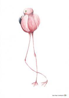 Flamingo illustratie  Agnes Stapper | kunstbengel.nl