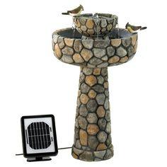 2-Tier Outdoor Cobblestone Solar Powdered Water Fountain