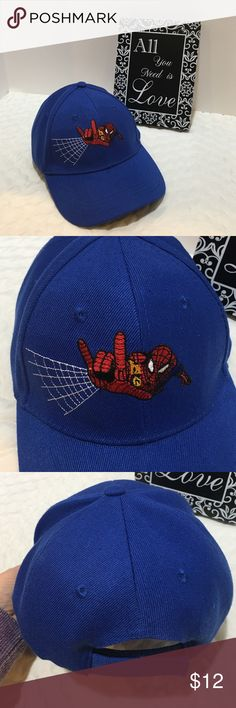 💰💰5 for $20 - Spider-Man Hat, Blue Blue Spider-Man hat. GUC. Velcro back adjustable.  There are a few snags like in pic 4. Looks to be 5 total. Not very noticeable. Spiderman Accessories Hats