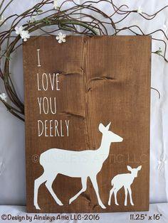 Woodland Nursery Wall Art I Love You Deerly by AinsleysAtticLLC