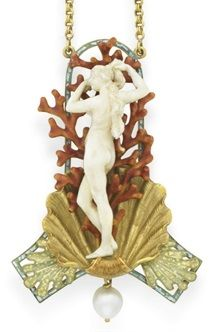 AN ART NOUVEAU IVORY, ENAMEL AND PEARL BIRTH OF VENUS PENDANT NECKLACE, BY GEORGES FOUQUET. The carved ivory Venus emerging from a sculpted, textured gold shell, against a backdrop of sculpted red enamel coral branches, within a blue and green enamel arched frame, decorated with pale green enamel seaweed motifs, suspending a drop-shaped pearl, from the fancy-link 18k gold chain, mounted in 18k gold, circa 1900, with French assay marks. Signed G. Fouquet for Georges Fouquet.