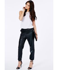 Prala Faux Leather Joggers - Trousers - Missguided