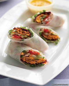 Spring Rolls with Carrot-Ginger Dipping Sauce fr Martha Stewart