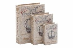 French Wood Canvas Book Box S/3, 12 Inch, 9 Inch, 6 Inch Brand Woodland