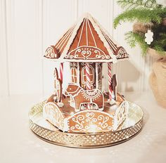 Free template for gingerbread carousel                                                                                                                                                                                 More