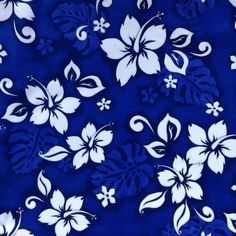 Fabric Material  Tropical Hibiscus Royal Blue  by CraftingFabric, $2.90