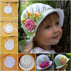 Creative DIY Adorable Crochet Flower Hats for Little Girls