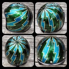 Each helmet sent to us is painted one at a time by hand and is replaced with custom trim (black or chrome) and also has a high quality mirr. Retro Motorcycle Helmets, Biker Helmets, Biker Gear, Custom Choppers, Custom Motorcycles, Biltwell Helmet, Beast From The East, Man Gear, Helmet Head