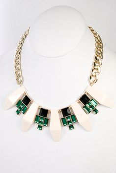 Savoy Deco Statement Necklace - Ivory + Emerald