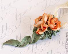 Polymer clay earrings /  Комплект колье и серьги с пионами персиковыми из полимерной глины. - комлект украшений