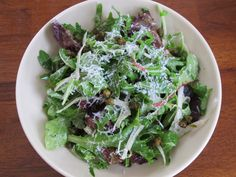 Mixed Greens with Fried Capers, Parmesan Cheese, and Lemon-Anchovy Dressing