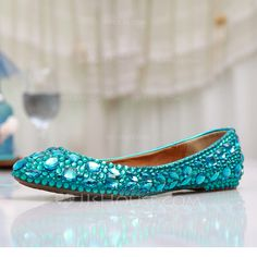 [£ 39.00] Women's Leatherette Flat Heel Closed Toe Flats With Rhinestone